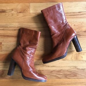 BRONX Brown Leather Heeled Boots 37